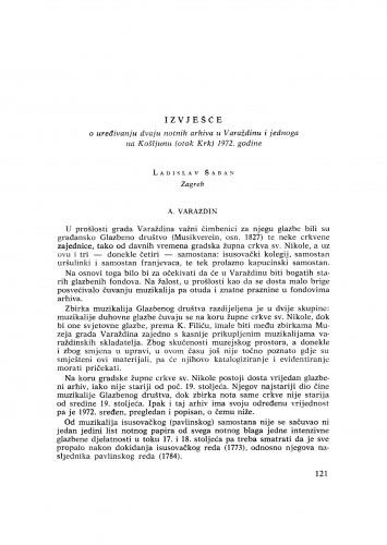 Izvješće o uređivanju dvaju notnih arhiva u Varaždinu i jednoga na Košljunu (otok Krk) 1972. godine