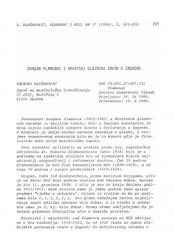 Dragan Plamenac i Hrvatski glazbeni zavod u Zagrebu