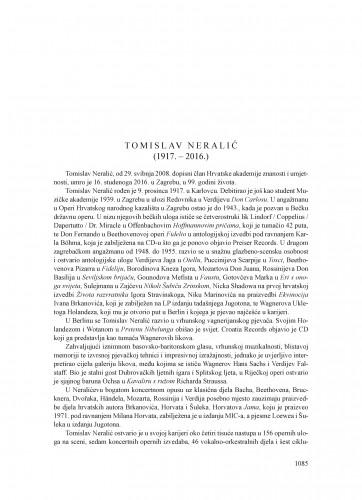 Tomislav Neralić (1917.-2016.) : [nekrolog]