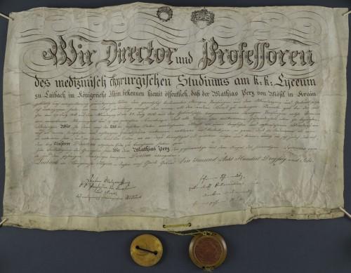 Diploma liječnika i kirurga Mathiasa Perza