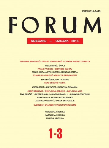 God. 54(2015), knj. 87, br. 1-3 (siječanj-ožujak) : Forum : mjesečnik Razreda za književnost Hrvatske akademije znanosti i umjetnosti.