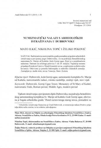 Numizmatički nalazi s arheoloških istraživanja u Dubrovniku / Mato Ilkić, Nikolina Topić, Željko Peković