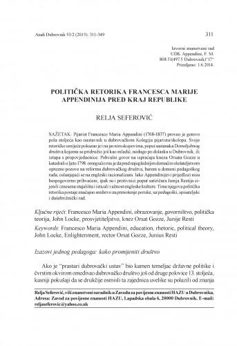 Politička retorika Francesca Marije Appendinija pred kraj Republike / Relja Seferović