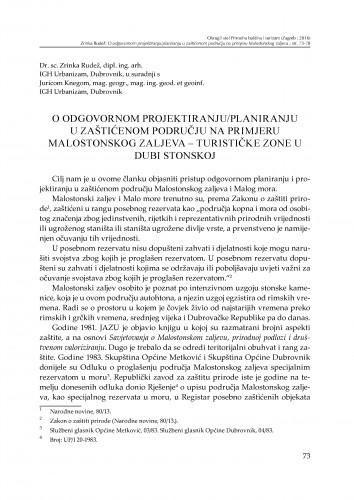 O odgovornom projektiranju/planiranju u zaštićenom području na primjeru Malostonskog zaljeva - turističke zone u Dubi Stonskoj : [prilog za raspravu]