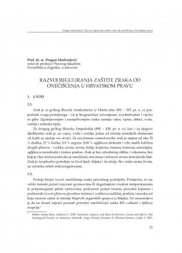 Razvoj reguliranja zaštite zraka od onečišćenja u hrvatskom pravu : [uvodno izlaganje]