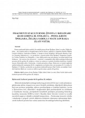 Fragmenti iz kulturnog života u Bjelovaru 60-ih godina 20. stoljeća – pisma Krste Špoljara, Željka Sabola i Mate Lovraka Zlati Veček