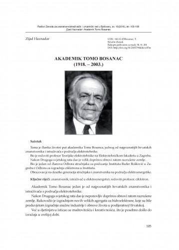Akademik Tomo Bosanac : (1918. - 2003.) / Zijad Haznadar
