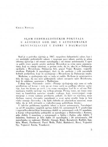 Slom federalističkih pokušaja u Austriji god. 1867. i autonomaške denuncijacije u Zadru i Dalmaciji
