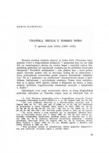 Vranska regija u rimsko doba : u spomen Luki Jeliću (1863-1922)