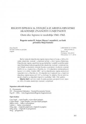 Regesti isprava 16. stoljeća iz Arhiva Hrvatske akademije znanosti i umjetnosti. Osmi dio: Isprave iz razdoblja 1560.-1562