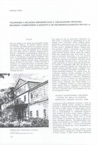 Veleposjed i seljačko privređivanje u nekadašnjim općinama beljskog i darđanskog gazdinstva od oslobođenja kmetova do 1914. godine