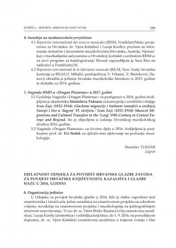 Djelatnost Odsjeka za povijest hrvatske glazbe Zavoda za povijest hrvatske književnosti, kazališta i glazbe HAZU u 2016. godini