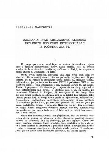 Zadranin Ivan Kreljanović Albinoni - istaknuti hrvatski intelektualac iz početka XIX st.