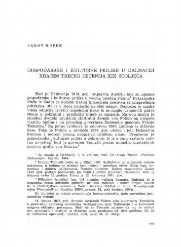 Gospodarske i kulturne prilike u Dalmaciji krajem trećeg decenija XIX stoljeća