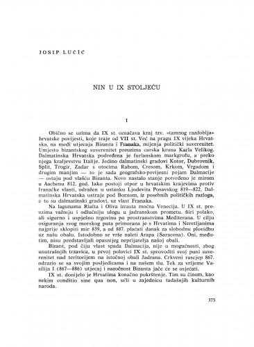 Nin u IX stoljeću