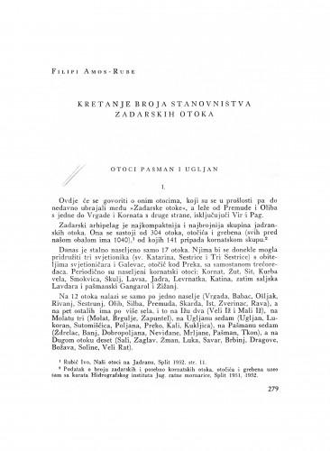 Kretanje broja stanovništva zadarskih otoka : otoci Pašman i Ugljan
