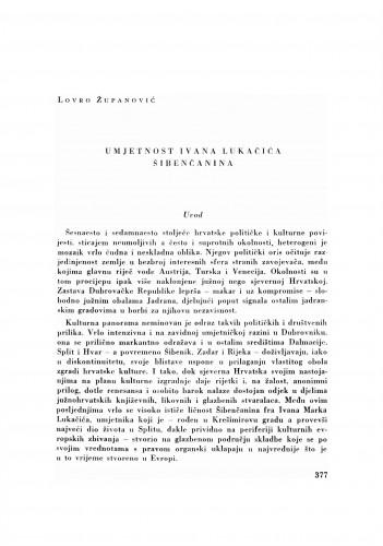 Umjetnost Ivana Lukačića Šibenčanina