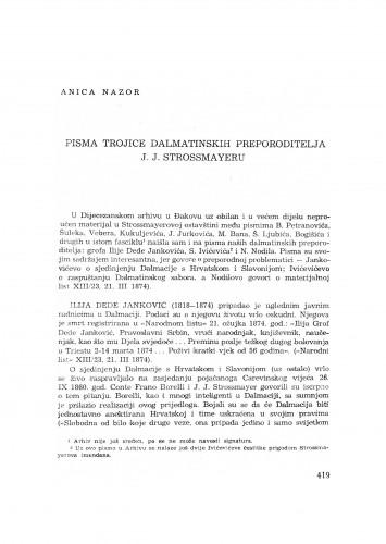 Pisma trojice dalmatinskih preporoditelja J. J. Strossmayeru