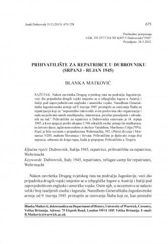 Prihvatilište za repatrirce u Dubrovniku (srpanj - rujan 1945) / Blanka Matković
