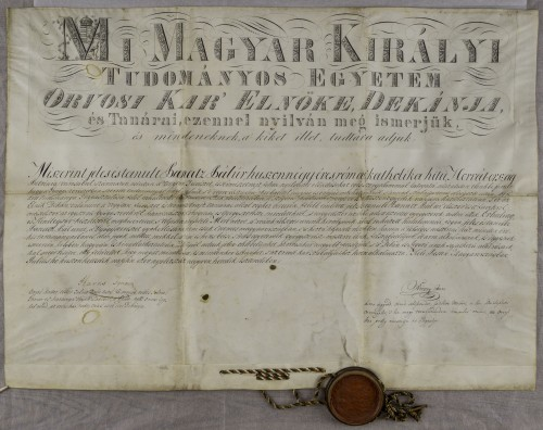 Diploma magistra farmacije Pavla Panca ml.