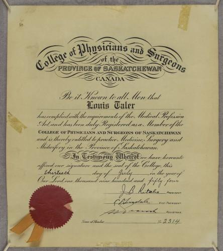 Povelja člana Zbora liječnika i kirurga Saskatchewana Louisa Talera