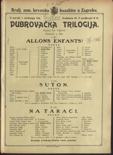 Dubrovačka trilogija Allons enfants! - Suton - Na taraci