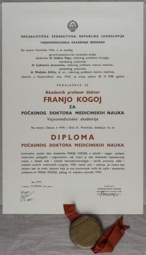 Diploma počasnog doktora medicinskih nauka akademika Franje Kogoja