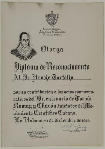 Diploma dodijeljena Hrvoju Tartalji