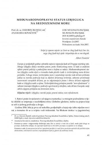 Međunarodnopravni status izbjeglica na Sredozemnom moru / Davorin Rudolf, ml., Anamaria Kovačević