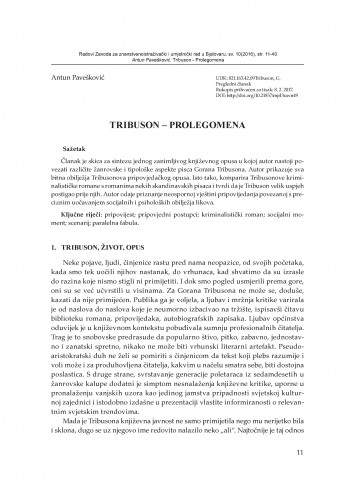 Tribuson - Prolegomena / Antun Pavešković