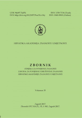 Vol. 35 (2017) : Zbornik Odsjeka za povijesne znanosti Zavoda za povijesne i društvene znanosti Hrvatske akademije znanosti i umjetnosti