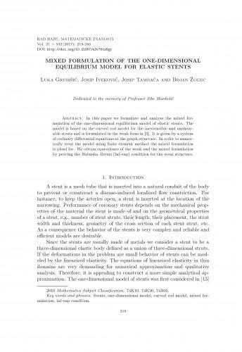 Mixed formulation of the one-dimensional equilibrium model for elastic stents / Luka Grubišić, Josip Iveković, Josip Tambača, Bojan Žugec