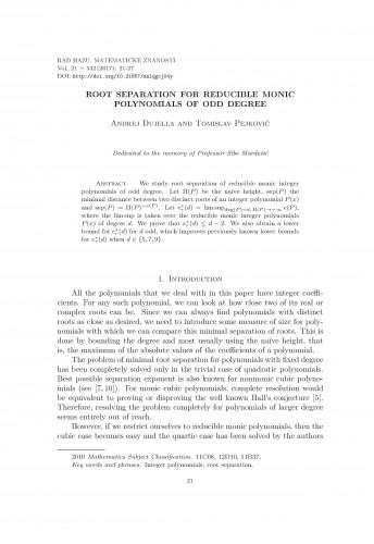 Root separation for reducible monic polynomials of odd degree / Andrej Dujella, Tomislav Pejković