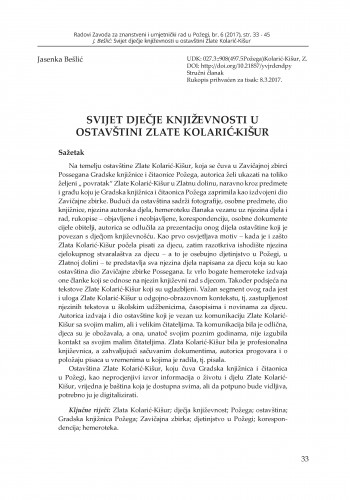 Svijet dječje književnosti u ostavštini Zlate Kolarić-Kišur / Jasenka Bešlić