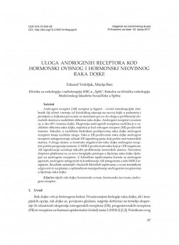 Uloga androgenih receptora kod hormonski ovisnog i hormonski neovisnog raka dojke / Eduard Vrdoljak, Marija Ban