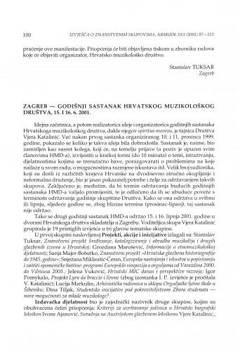 Zagreb - Godišnji sastanak Hrvatskog muzikološkog društva, 15. i 16. 6. 2001.