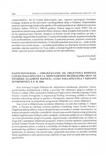 Pazin, Novigrad - obilježavanje 100. obljetnice rođenja Luigija Dallapiccole i 4. Međunarodni muzikološki skup