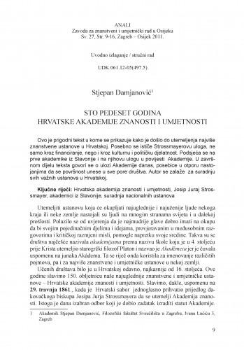 Sto pedeset godina Hrvatske akademije znanosti i umjetnosti