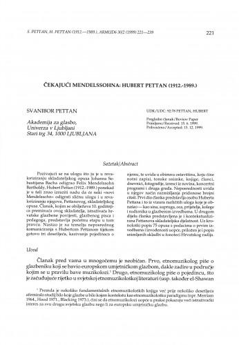 Čekajući Mendelssohna : Hubert Pettan (1912.-1989.)