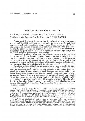 Josip Andreis – bibliografija
