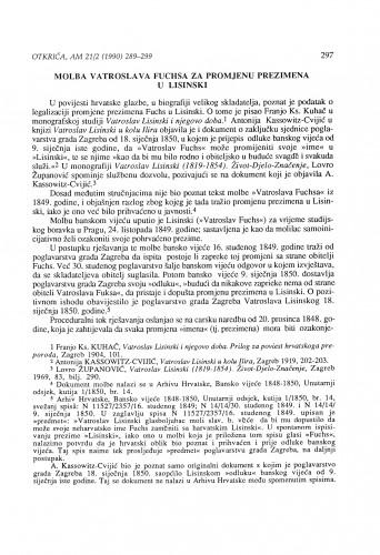 Molba Vatroslava Fuchsa za promjenu prezimena u Lisinski