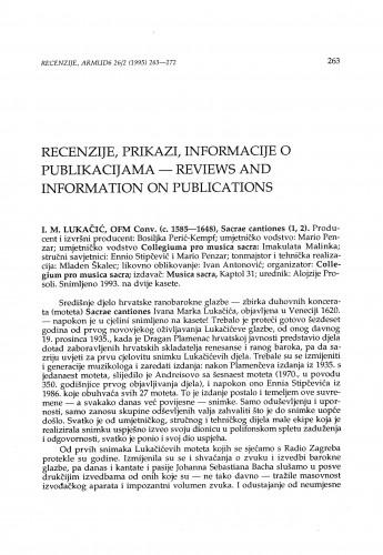 Lukačić, Ivan Marko: Sacrae Cantiones (kaseta), Zagreb, 1993.
