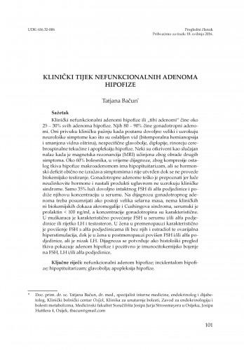 Klinički tijek nefunkcionalnih adenoma hipofize