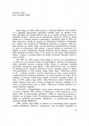 Komemoracija Gaji Alagi, izvanrednom članu Jugoslavenske akademije znanosti i umjetnosti