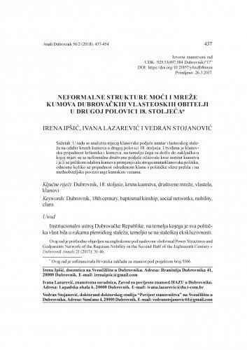Neformalne strukture moći i mreže kumova dubrovačkih vlasteoskih obitelji u drugoj polovici 18. stoljeća / Irena Ipšić, Ivana Lazarević i Vedran Stojanović