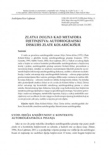 Zlatna dolina kao metafora djetinjstva: autobiografski diskurs Zlate Kolarić-Kišur / Andrijana Kos-Lajtman