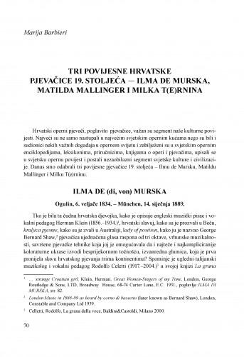 Tri povijesne hrvatske pjevačice 19. stoljeća - Ilma De Murska, Matilda Mallinger i Milka T(e)rnina
