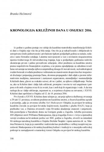 Kronologija Krležinih dana u Osijeku 2016.