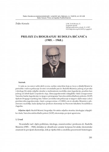 Prilozi za biografiju Rudolfa Bićanića (1905.-1968.) / Željko Karaula
