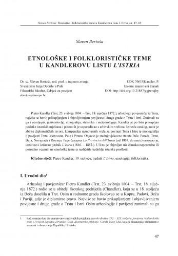 Etnološke i folklorističke teme u Kandlerovu listu L'Istria
